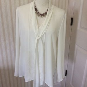 Long Sleeve Blouse With Front Ties Size M